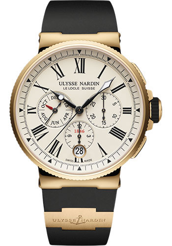 Ulysse Nardin Watches - Marine Chronograph 43mm - Rose Gold - Rubber Strap - Style No: 1532-150-3/40