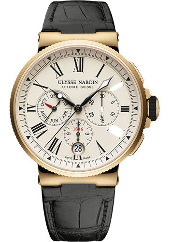 Ulysse Nardin Watches - Marine Chronograph 43mm - Rose Gold - Leather Strap - Style No: 1532-150/40