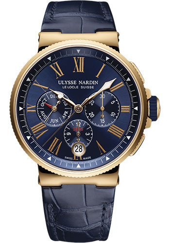 Ulysse Nardin Watches - Marine Chronograph 43mm - Rose Gold - Leather Strap - Style No: 1532-150/43