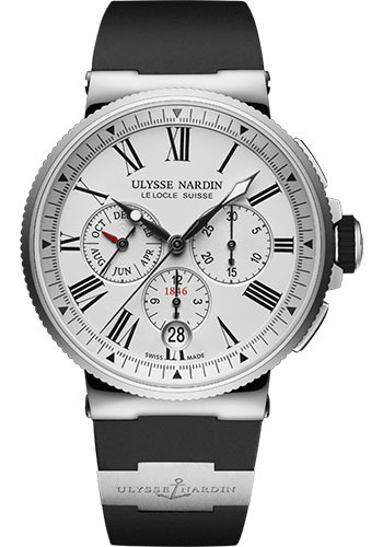 Ulysse Nardin Watches - Marine Chronograph 43mm - Stainless Steel - Rubber Strap - Style No: 1533-150-3/40