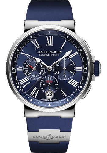 Ulysse Nardin Watches - Marine Chronograph 43mm - Stainless Steel - Rubber Strap - Style No: 1533-150-3/43