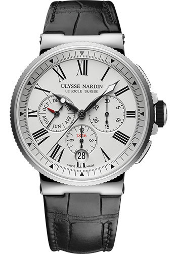 Ulysse Nardin Watches - Marine Chronograph 43mm - Stainless Steel - Leather Strap - Style No: 1533-150/40