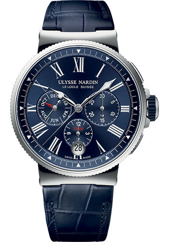 Ulysse Nardin Watches - Marine Chronograph 43mm - Stainless Steel - Leather Strap - Style No: 1533-150/43