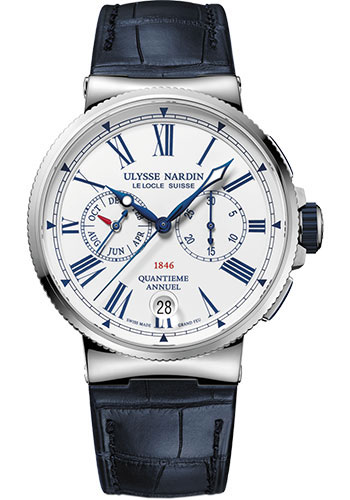 Ulysse Nardin Watches - Marine Chronograph 43mm - Stainless Steel - Leather Strap - Style No: 1533-150/E0