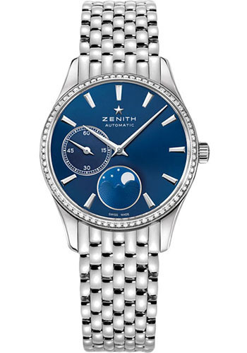 Zenith Watches - Captain Ultra Thin Lady Moonphase Stainless Steel And Diamonds - Style No: 16.2310.692/51.M2310