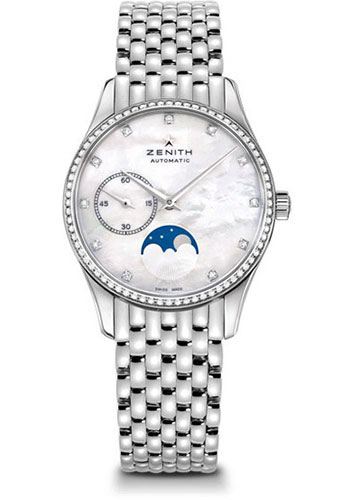 Zenith Watches - Captain Ultra Thin Lady Moonphase Stainless Steel And Diamonds - Style No: 16.2310.692/81.M2310
