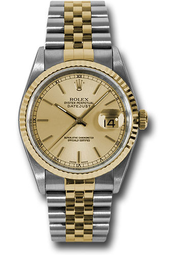 Pre-Owned Rolex Watches - Datejust Mens - Steel and Gold Yellow Gold - Fluted Bezel - Jubilee - Style No: V16233chsj