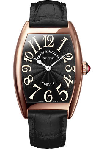 Franck Muller Watches - Cintre Curvex - Quartz - 25 mm Rose Gold - Strap - Style No: 1752 QZ 5N Black