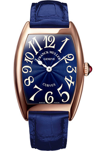 Franck Muller Watches - Cintre Curvex - Quartz - 25 mm Rose Gold - Strap - Style No: 1752 QZ 5N Blue