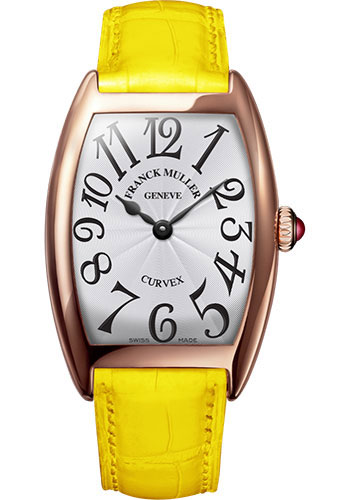 Franck Muller Watches - Cintre Curvex - Quartz - 25 mm Rose Gold - Strap - Style No: 1752 QZ 5N White Yellow