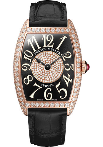 Franck Muller Watches - Cintre Curvex - Quartz - 25 mm Rose Gold - Dia Case Dial - Strap - Style No: 1752 QZ D 1P 5N Black
