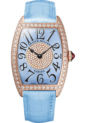 Franck Muller Watches - Cintre Curvex - Quartz - 25 mm Rose Gold - Dia Case Dial - Strap - Style No: 1752 QZ D 1P 5N Pastel Blue