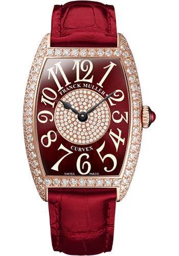 Franck Muller Watches - Cintre Curvex - Quartz - 25 mm Rose Gold - Dia Case Dial - Strap - Style No: 1752 QZ D 1P 5N Red