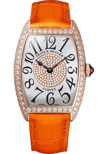 Franck Muller Watches - Cintre Curvex - Quartz - 25 mm Rose Gold - Dia Case Dial - Strap - Style No: 1752 QZ D 1P 5N White Orange