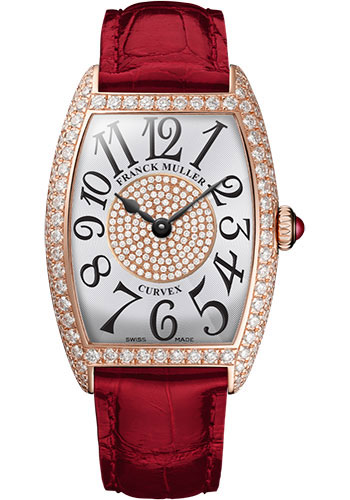 Franck Muller Watches - Cintre Curvex - Quartz - 25 mm Rose Gold - Dia Case Dial - Strap - Style No: 1752 QZ D 1P 5N White Red