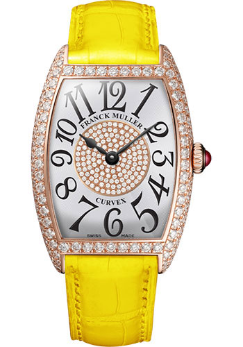 Franck Muller Watches - Cintre Curvex - Quartz - 25 mm Rose Gold - Dia Case Dial - Strap - Style No: 1752 QZ D 1P 5N White Yellow