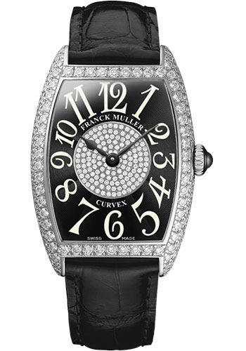 Franck Muller Watches - Cintre Curvex - Quartz - 25 mm Platinum - Dia Case Dial - Strap - Style No: 1752 QZ D 1P PT Black