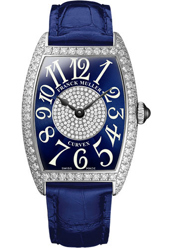 Franck Muller Watches - Cintre Curvex - Quartz - 25 mm Platinum - Dia Case Dial - Strap - Style No: 1752 QZ D 1P PT Blue