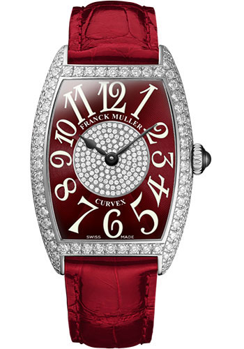 Franck Muller Watches - Cintre Curvex - Quartz - 25 mm Platinum - Dia Case Dial - Strap - Style No: 1752 QZ D 1P PT Red