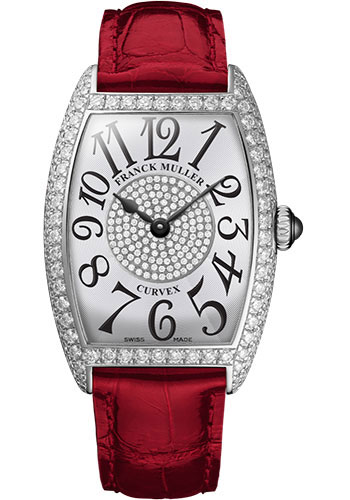 Franck Muller Watches - Cintre Curvex - Quartz - 25 mm Platinum - Dia Case Dial - Strap - Style No: 1752 QZ D 1P PT White Red