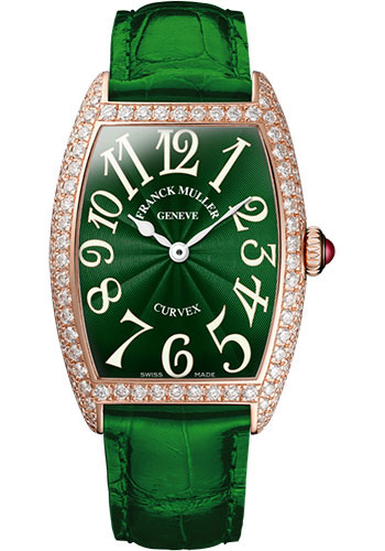 Franck Muller Watches - Cintre Curvex - Quartz - 25 mm Rose Gold - Dia Case - Strap - Style No: 1752 QZ D 5N Green