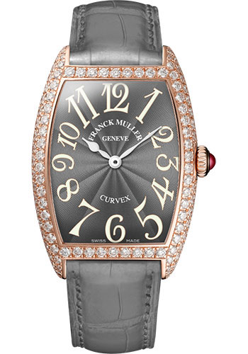 Franck Muller Watches - Cintre Curvex - Quartz - 25 mm Rose Gold - Dia Case - Strap - Style No: 1752 QZ D 5N Grey