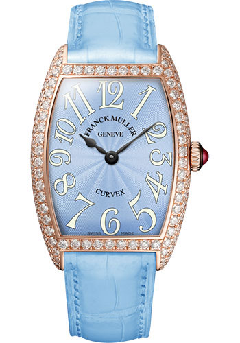Franck Muller Watches - Cintre Curvex - Quartz - 25 mm Rose Gold - Dia Case - Strap - Style No: 1752 QZ D 5N Pastel Blue