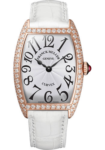 Franck Muller Watches - Cintre Curvex - Quartz - 25 mm Rose Gold - Dia Case - Strap - Style No: 1752 QZ D 5N White White