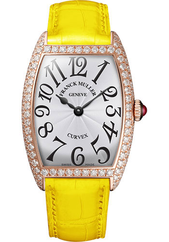 Franck Muller Watches - Cintre Curvex - Quartz - 25 mm Rose Gold - Dia Case - Strap - Style No: 1752 QZ D 5N White Yellow