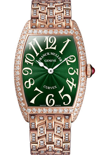Franck Muller Watches - Cintre Curvex - Quartz - 25 mm Rose Gold - Dia Case - Half Dia Bracelet - Style No: 1752 QZ D B 5N Green