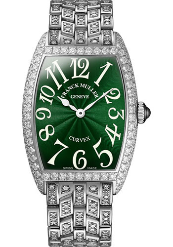 Franck Muller Watches - Cintre Curvex - Quartz - 25 mm White Gold - Dia Case - Half Dia Bracelet - Style No: 1752 QZ D B OG Green