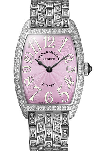 Franck Muller Watches - Cintre Curvex - Quartz - 25 mm White Gold - Dia Case - Half Dia Bracelet - Style No: 1752 QZ D B OG Pink
