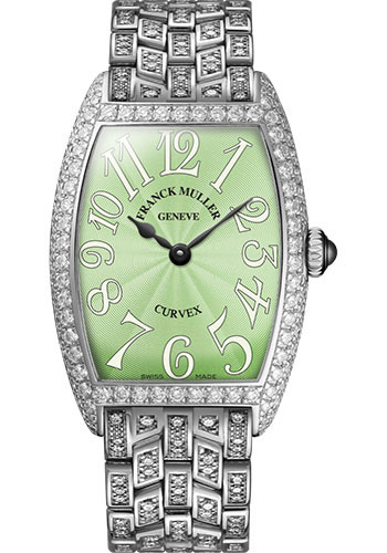 Franck Muller Watches - Cintre Curvex - Quartz - 25 mm Platinum - Dia Case - Half Dia Bracelet - Style No: 1752 QZ D B PT Pastel Green