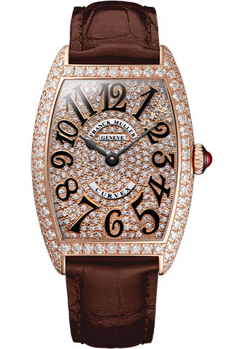 Franck Muller Watches - Cintre Curvex - Quartz - 25 mm Rose Gold - Dia Case Full Dial - Strap - Style No: 1752 QZ D CD 5N Brown