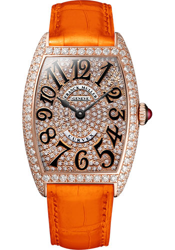 Franck Muller Watches - Cintre Curvex - Quartz - 25 mm Rose Gold - Dia Case Full Dial - Strap - Style No: 1752 QZ D CD 5N Orange