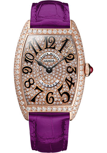 Franck Muller Watches - Cintre Curvex - Quartz - 25 mm Rose Gold - Dia Case Full Dial - Strap - Style No: 1752 QZ D CD 5N Purple