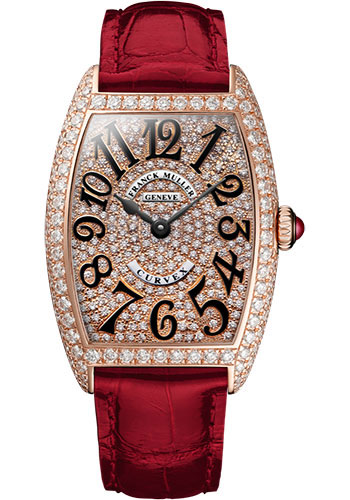 Franck Muller Watches - Cintre Curvex - Quartz - 25 mm Rose Gold - Dia Case Full Dial - Strap - Style No: 1752 QZ D CD 5N Red