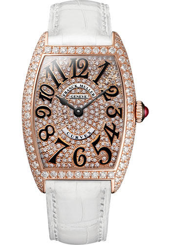 Franck Muller Watches - Cintre Curvex - Quartz - 25 mm Rose Gold - Dia Case Full Dial - Strap - Style No: 1752 QZ D CD 5N White