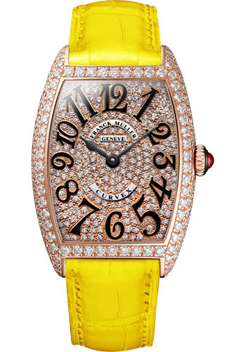 Franck Muller Watches - Cintre Curvex - Quartz - 25 mm Rose Gold - Dia Case Full Dial - Strap - Style No: 1752 QZ D CD 5N Yellow