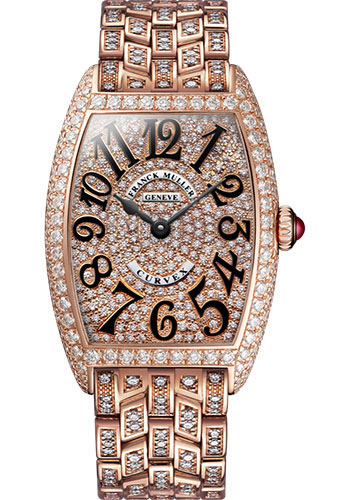 Franck Muller Watches - Cintre Curvex - Quartz - 25 mm Rose Gold - Dia Case Dial - Full Dia Bracelet - Style No: 1752 QZ D CD F 5N