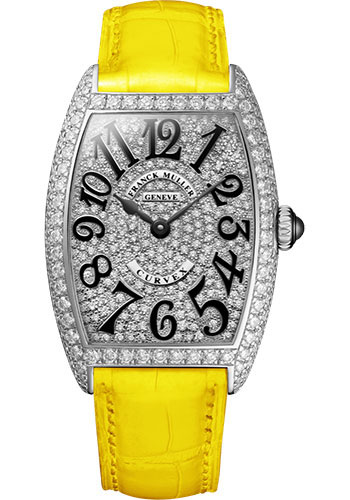 Franck Muller Watches - Cintre Curvex - Quartz - 25 mm White Gold - Dia Case Full Dial - Strap - Style No: 1752 QZ D CD OG Yellow