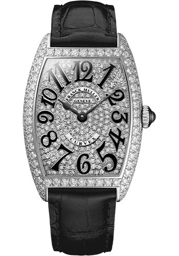 Franck Muller Watches - Cintre Curvex - Quartz - 25 mm Platinum - Dia Case Full Dial - Strap - Style No: 1752 QZ D CD PT Black