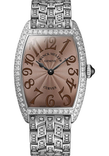 Franck Muller Watches - Cintre Curvex - Quartz - 25 mm Platinum - Dia Case - Full Dia Bracelet - Style No: 1752 QZ D F PT Chocolate