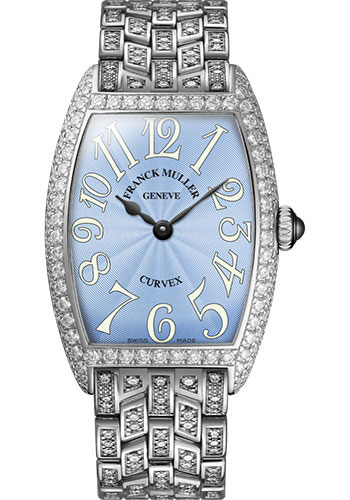 Franck Muller Watches - Cintre Curvex - Quartz - 25 mm Platinum - Dia Case - Full Dia Bracelet - Style No: 1752 QZ D F PT Pastel Blue