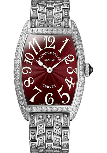 Franck Muller Watches - Cintre Curvex - Quartz - 25 mm Platinum - Dia Case - Full Dia Bracelet - Style No: 1752 QZ D F PT Red