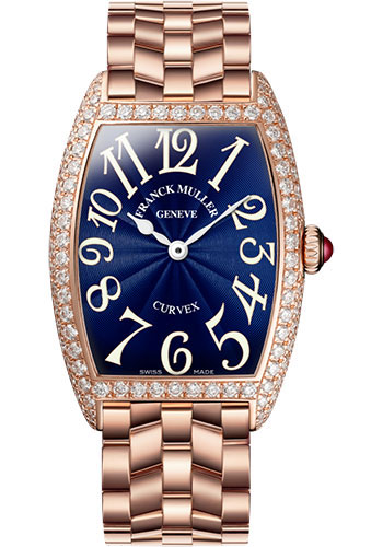 Franck Muller Watches - Cintre Curvex - Quartz - 25 mm Rose Gold - Dia Case - Bracelet - Style No: 1752 QZ D O 5N Blue