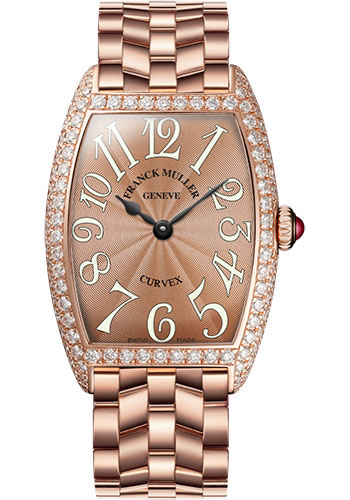 Franck Muller Watches - Cintre Curvex - Quartz - 25 mm Rose Gold - Dia Case - Bracelet - Style No: 1752 QZ D O 5N Bronze