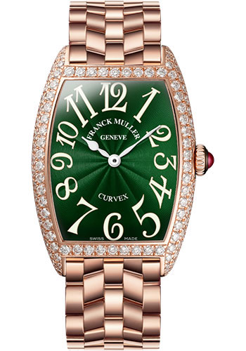 Franck Muller Watches - Cintre Curvex - Quartz - 25 mm Rose Gold - Dia Case - Bracelet - Style No: 1752 QZ D O 5N Green