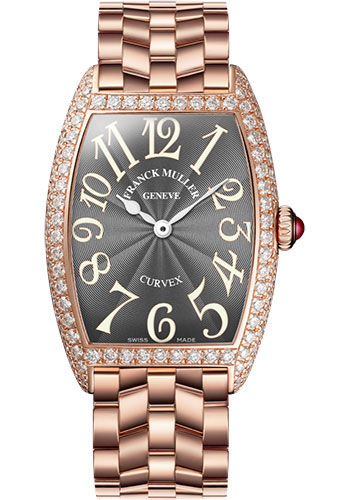 Franck Muller Watches - Cintre Curvex - Quartz - 25 mm Rose Gold - Dia Case - Bracelet - Style No: 1752 QZ D O 5N Grey