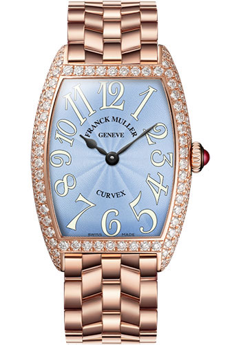 Franck Muller Watches - Cintre Curvex - Quartz - 25 mm Rose Gold - Dia Case - Bracelet - Style No: 1752 QZ D O 5N Pastel Blue